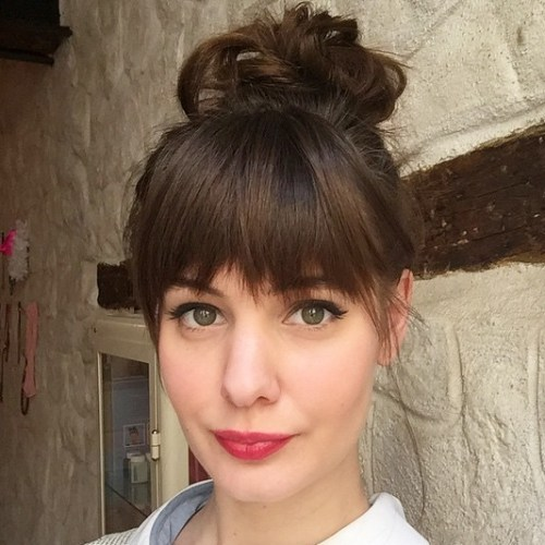 Top Knot With Bangs hair